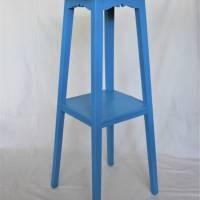 blauer Blumenhocker Beistelltisch Vintage Bild 1
