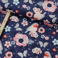 Baumwolle, Webware, Digitaldruck, Rotkehlchen, Vögel, Blumen auf blau Bild 1