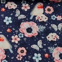 Baumwolle, Webware, Digitaldruck, Rotkehlchen, Vögel, Blumen auf blau Bild 3
