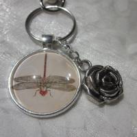 "Schlüsselanhänger Libelle ""Libellule"" Rose Geschenkidee Geburtstagsgeschenk  Bild 1"