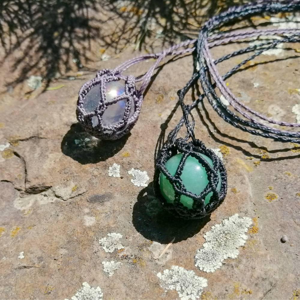 Makramee-Halskette mit Wechsel-Netz/ Steinhalter für Edelstein-Kugeln in deiner Wunschfarbe Bild 1