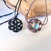 Makramee-Halskette mit Wechsel-Netz/ Steinhalter für Edelstein-Kugeln in deiner Wunschfarbe Bild 2