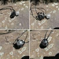 Makramee-Halskette mit Wechsel-Netz/ Steinhalter für Edelstein-Kugeln in deiner Wunschfarbe Bild 3