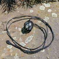 Makramee-Halskette mit Wechsel-Netz/ Steinhalter für Edelstein-Kugeln in deiner Wunschfarbe Bild 6
