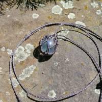 Makramee-Halskette mit Wechsel-Netz/ Steinhalter für Edelstein-Kugeln in deiner Wunschfarbe Bild 7