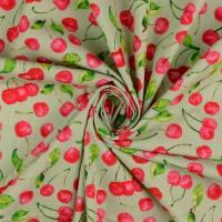 Baumwolle Baumwollstoff Popeline Kirschen hellgrün (1m /8,00€) Bild 1