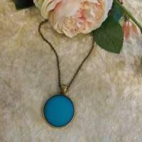 Trendige Bronze Kette mit mattem Polaris Cabochon, türkisblau Bild 2
