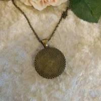 Trendige Bronze Kette mit mattem Polaris Cabochon, türkisblau Bild 4
