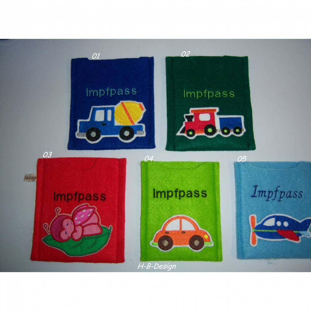 Impfbuchhülle-Kinder, Impfpasshülle-Impfpassausweis-Einsteckhülle, 2mm Polyesterfilz, in bunten Farben, ca. 11x13cm Bild 1