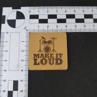 "Kunstlederlabel ""Make it loud"" mit Schlagzeug Bild 2"