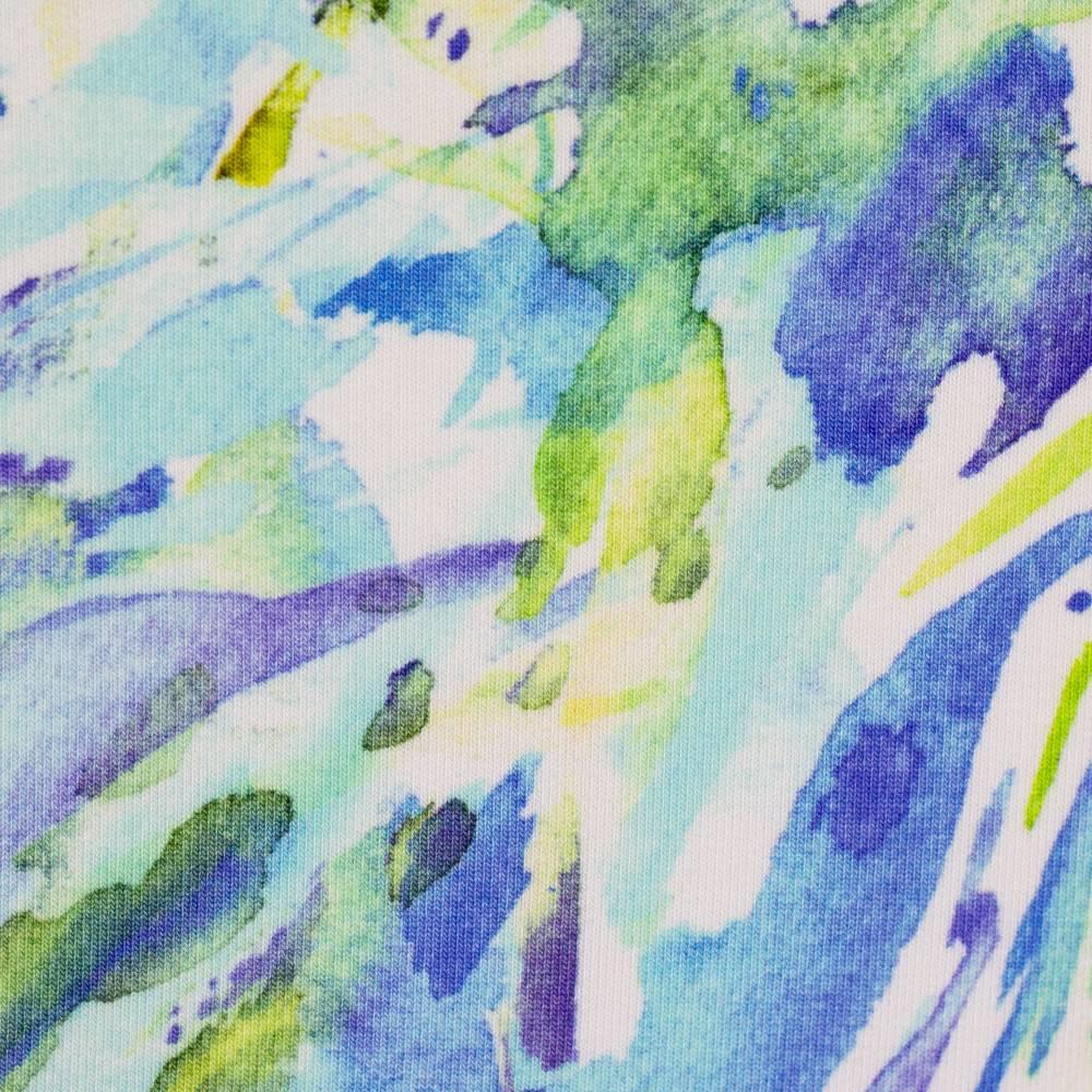 French Terry Wasserfarben blau grün, Swafing Angelina, Stoff Sweat gemustert, Damenstoff Meterware Bild 1