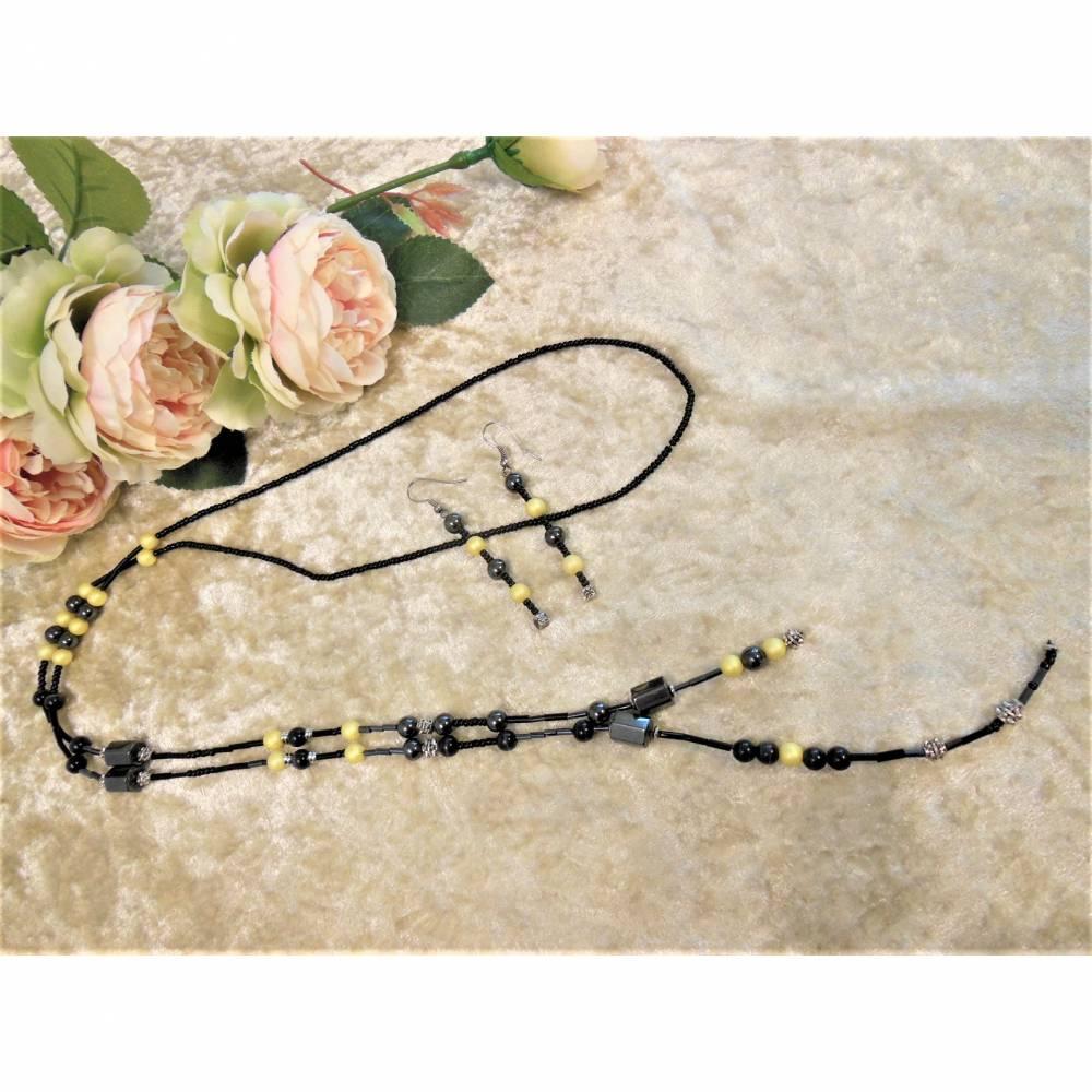 Lange Kette / Endloskette mit Hämatit Magnetperlen und passenden Ohrringen Bild 1