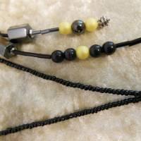 Lange Kette / Endloskette mit Hämatit Magnetperlen und passenden Ohrringen Bild 4
