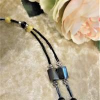 Lange Kette / Endloskette mit Hämatit Magnetperlen und passenden Ohrringen Bild 7