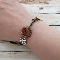Armband im Steampunk Look mit Zahnrädern und Roten Perlen/ Handgemachtes Unikat  Bild 4