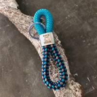 Schlüsselanhänger aus Segelseil mit silberfarbenem Schlüsselring Bild 3