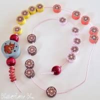 Rechenkette mit Holz- und Kunststoff- Perlen Gelb Orange Rehbraun Rosa Motivperle Glückwunschkarte und Geschenktasche Bild 8