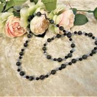 Lange Kette aus hell- und dunkelgrauen Cat Eye Perlen Bild 4