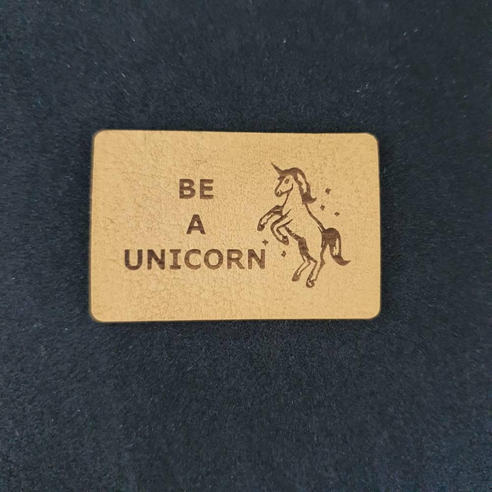 """Kunstlederlabel """"be a unicorn"""" Bild 1"""