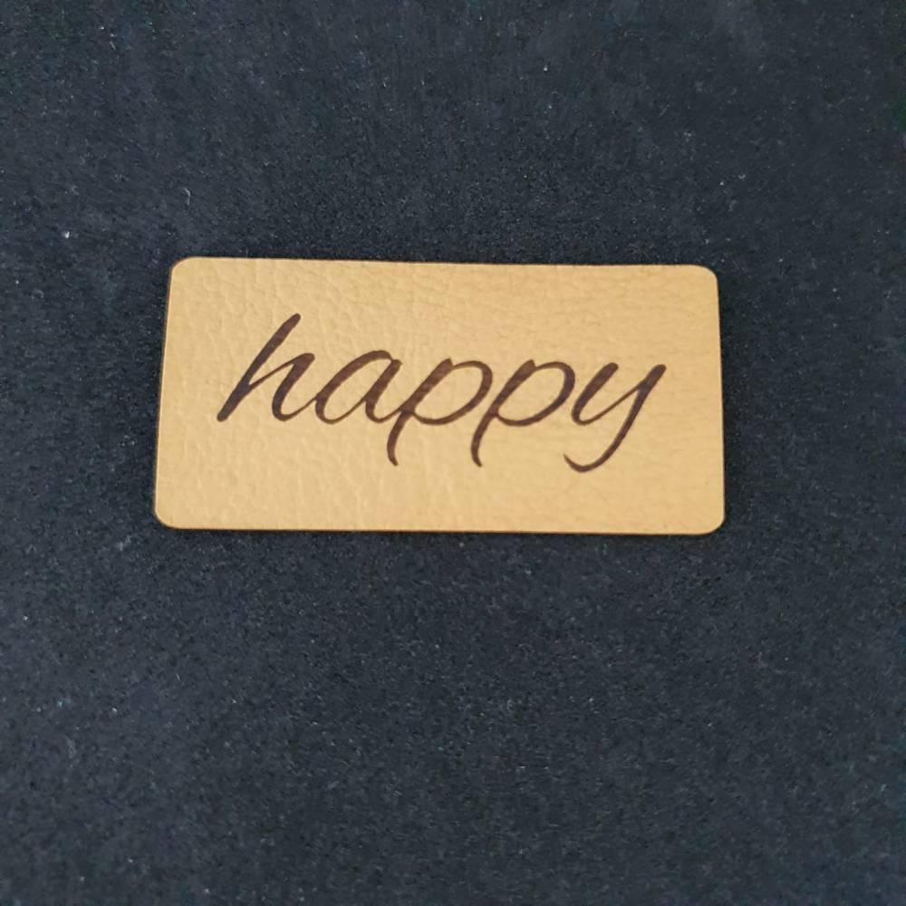 """Kunstlederlabel """"happy"""" Bild 1"""