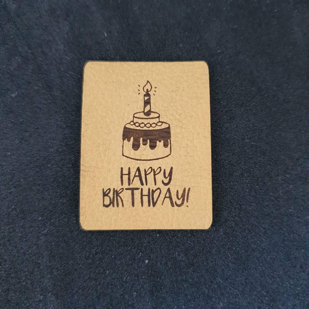 """Kunstlederlabel """"happy birthday"""" Bild 1"""