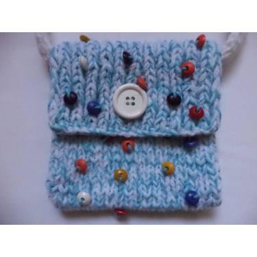gestrickte kleine Tasche Kinder Handtasche 17cm x 17cm hellblau weiß Bild 1