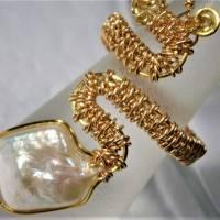 Ring handgefertigt mit Biwaperle weiß Spiralring boho Schlangenring verstellbar Perlenring  Bild 4