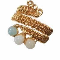 Ring handgemacht Amazonit türkis mint pastell Spiralring wirework goldfarben boho Daumenring Bild 1