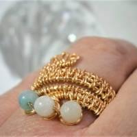 Ring handgemacht Amazonit türkis mint pastell Spiralring wirework goldfarben boho Daumenring Bild 4