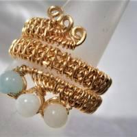 Ring handgemacht Amazonit türkis mint pastell Spiralring wirework goldfarben boho Daumenring Bild 6
