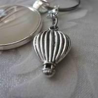 """Cabochon Schlüsselanhänger Ballon Heißluftballon nostalgisch im Vintage Stil """"Montgolfière""""  Bild 2"""