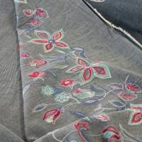Jeans mit bestickter Bordüre Denim Baumwolle Jeansstoff Bild 6