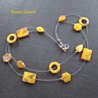 Perlmuttkette gelb silberfarben zweireihig Perlmutt Kette kurz  Bild 8