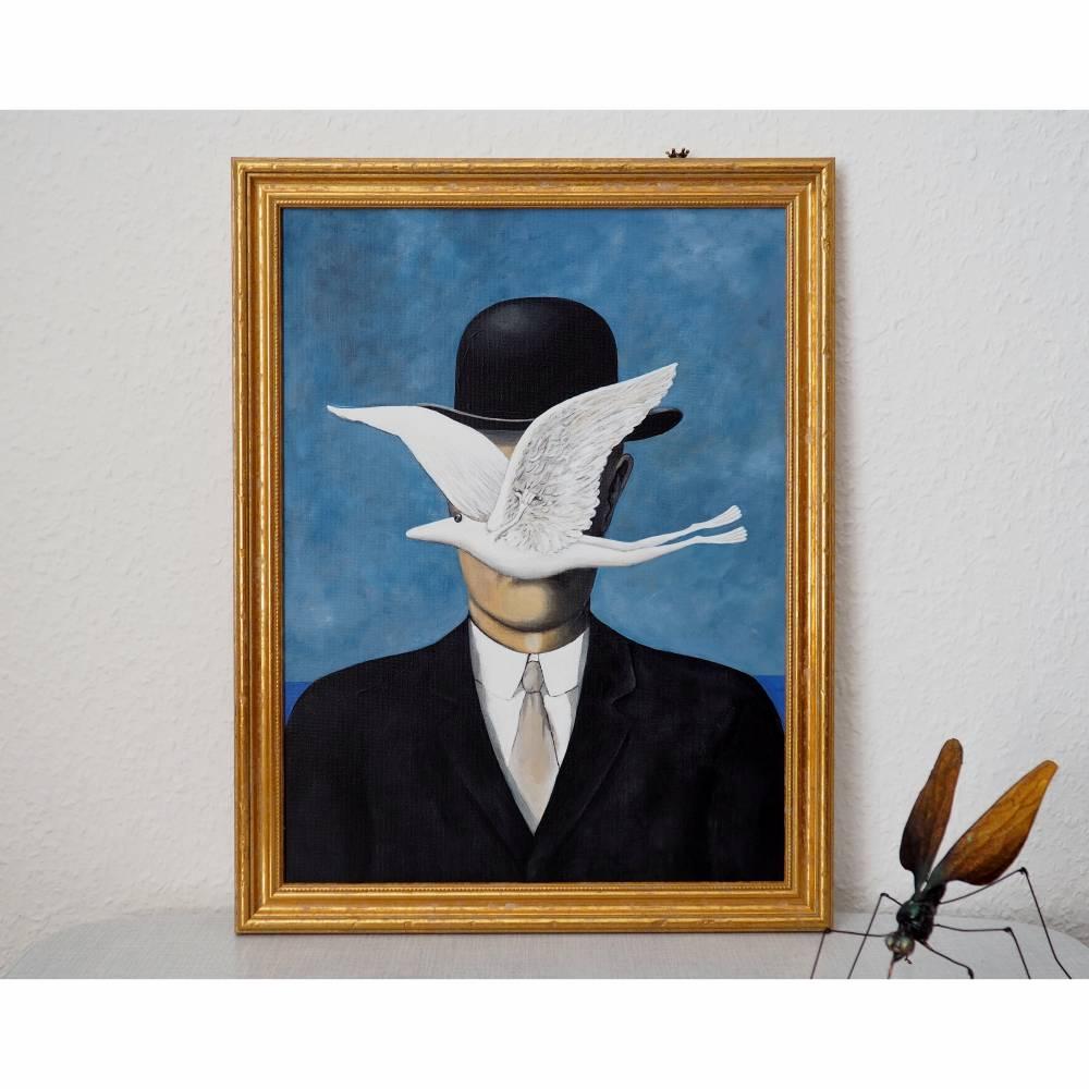 René Frogritte, Magritte, Selbstportrait, Froschkönig, Froschbild, Originalbild, Acrylmalerei, Unikat Bild 1