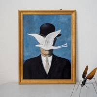 René Frogritte, Magritte, Selbstportrait, Froschkönig, Froschbild, Originalbild, Acrylmalerei, Unikat Bild 2