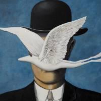 René Frogritte, Magritte, Selbstportrait, Froschkönig, Froschbild, Originalbild, Acrylmalerei, Unikat Bild 3