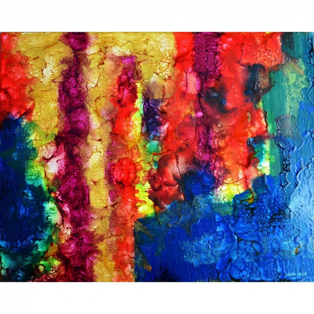 Filigrane Spuren - Original Encausticmalerei auf Leinwand Bild 1