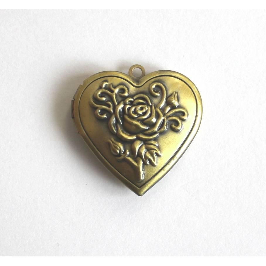Medaillon Anhänger Herz 30 x 29 mm zum Öffnen Kettenanhänger Metall goldfarben Rose Bild 1