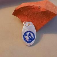 """ovaler Anhänger """"Blauer Planet"""" aus 999 Silber, blau patiniert Bild 7"""