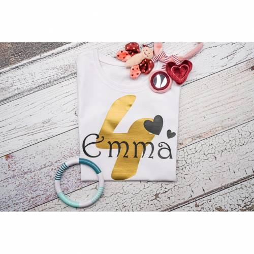 Kinder T-Shirt personalisiert mit Namen und Nummer Babybody