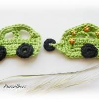 Gehäkelter Wohnwagen mit Auto nach Farbwahl - Häkelapplikation,Aufnäher,Anhänger,Gespann,Hippie,grün,orange Bild 1