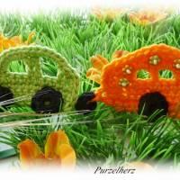 Gehäkelter Wohnwagen mit Auto nach Farbwahl - Häkelapplikation,Aufnäher,Anhänger,Gespann,Hippie,grün,orange Bild 2