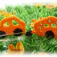 Gehäkelter Wohnwagen mit Auto nach Farbwahl - Häkelapplikation,Aufnäher,Anhänger,Gespann,Hippie,grün,orange Bild 5