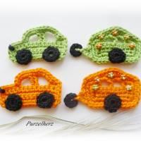 Gehäkelter Wohnwagen mit Auto nach Farbwahl - Häkelapplikation,Aufnäher,Anhänger,Gespann,Hippie,grün,orange Bild 6
