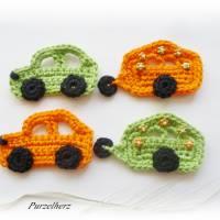Gehäkelter Wohnwagen mit Auto nach Farbwahl - Häkelapplikation,Aufnäher,Anhänger,Gespann,Hippie,grün,orange Bild 7