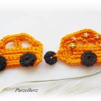 Gehäkelter Wohnwagen mit Auto nach Farbwahl - Häkelapplikation,Aufnäher,Anhänger,Gespann,Hippie,grün,orange Bild 8