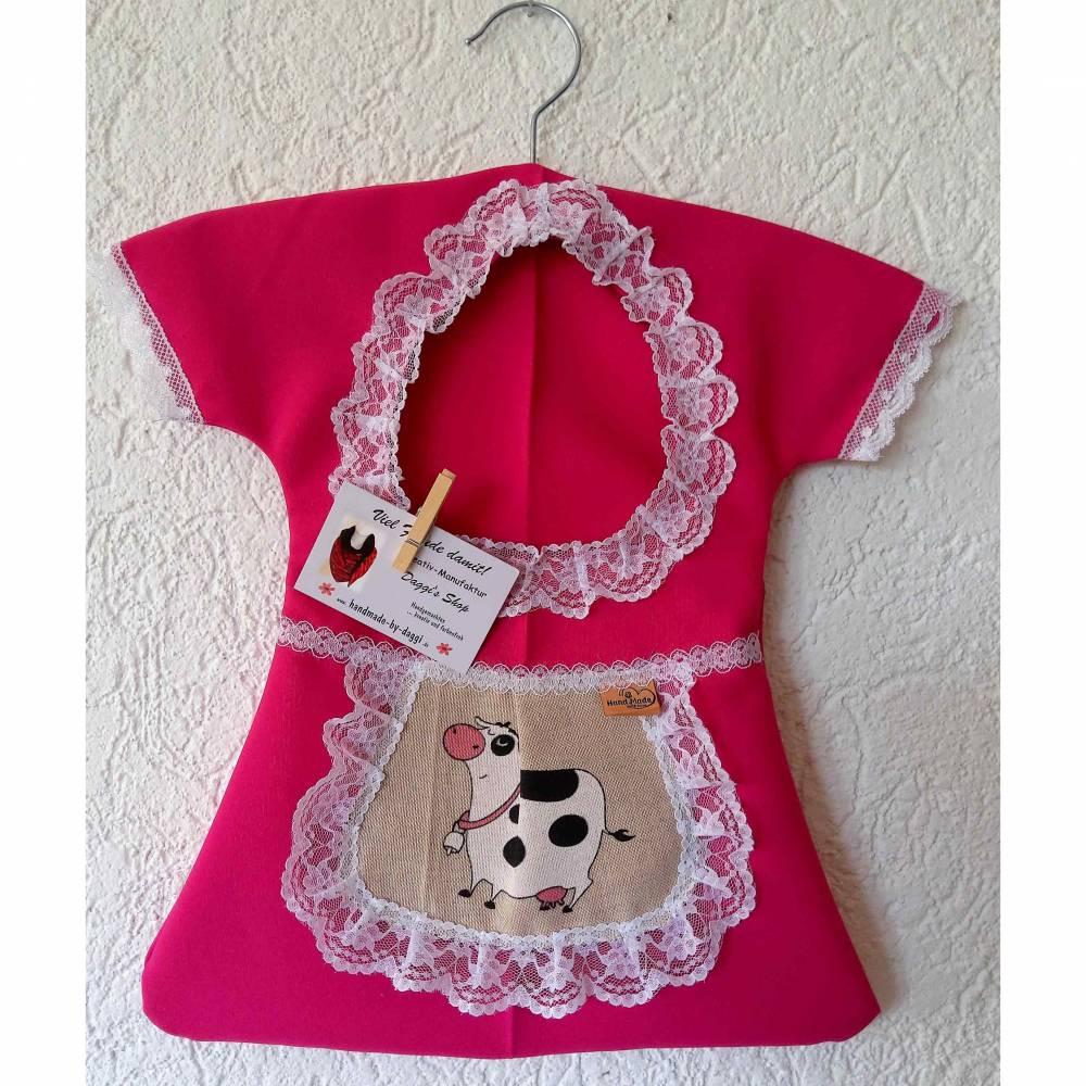 Klammerkleid, Wäscheklammerbeutel, Klammerkleidchen, Schürzchen mit Kuhmotiv Bild 1