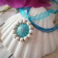 Trachten- & Dirndlschmuck / Drahtschmuck aus Türkis Perlen & Cabochon/ Handgemachter Unikatschmuck für dein Dirndl Bild 4