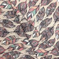 Jersey Stoff mit Federn und rosa und grünen Akzenten Bild 5