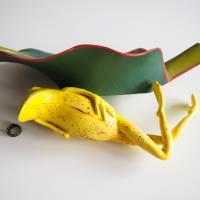 Bananenfrosch, Froschskulptur, Froschkönig, Froschplastik, Frosch Figur, modellierter Frosch, Toy Art, figurative Art Bild 10